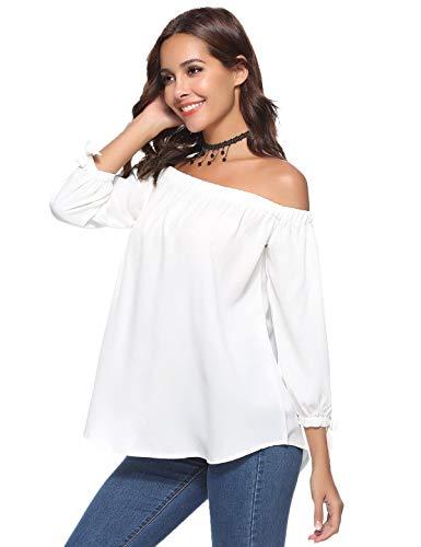 Aibrou Camicia Spalle Scoperte Donna a Manicotto 3/4 Bluse Elegante Camicetta a Spalla T- Shirt con Spalla