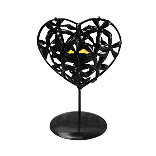(Sacow Candlestick, Heart Shaped Hollowed Iron Stencil Candle Holder Home Desktop Adornment (Black))