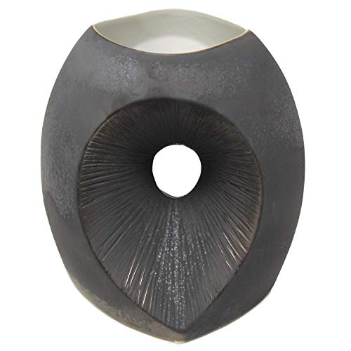 (Global Views Modern Black Bronze Abstract Totem Sculpture Vase | 10