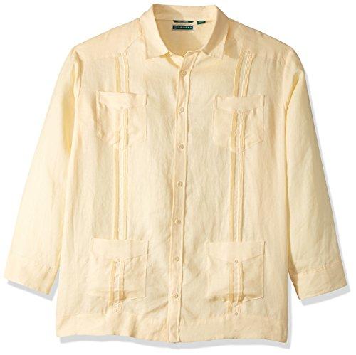 Cubavera Men's Big Long Sleeve 100% Linen Cuban Guayabera Shirt, Banana Crepe, 3X-Large -
