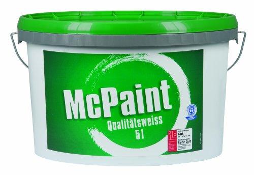 McPaint Wandfarbe Qualitätsweiß matt 5 Liter, weiß