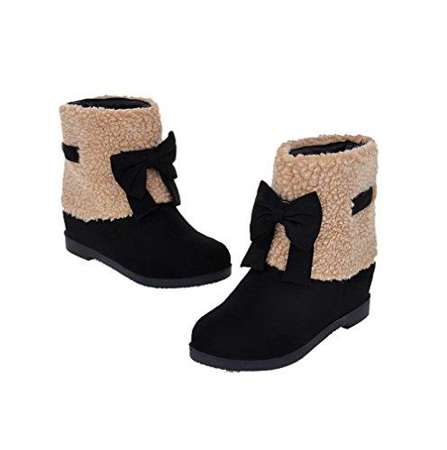 AgooLar Damen Mattglasbirne Gemischte Farbe Ziehen auf Rund Zehe Niedriger Absatz Stiefel Schwarz