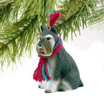 Gray Tiny Ones Dog Figurines - 1 X Schnauzer Miniature Dog Ornament - Gray