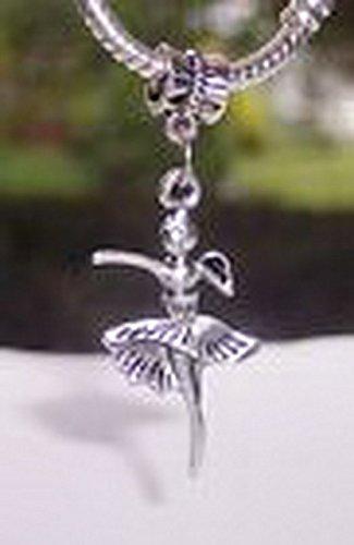 [Beads Hut - Ballerina Ballet Dance Dancer Big Dangle Charm Bead for Silver European Bracelet] (Aztec Dancers Costumes)