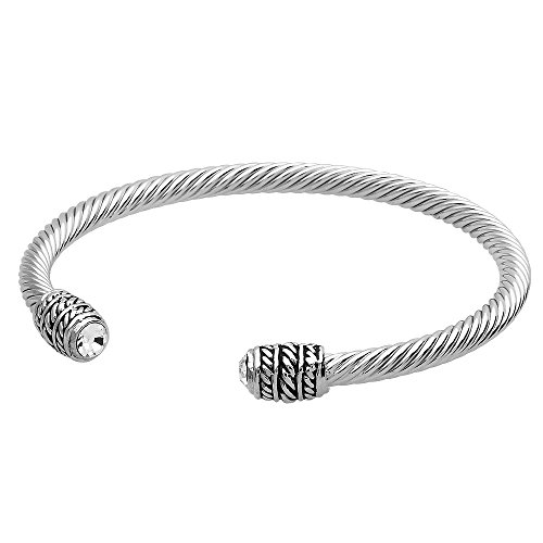 Crystal 4mm Cable Wire Bracelet High Pol - David Yurman Sterling Silver Cable Bracelet Shopping Results