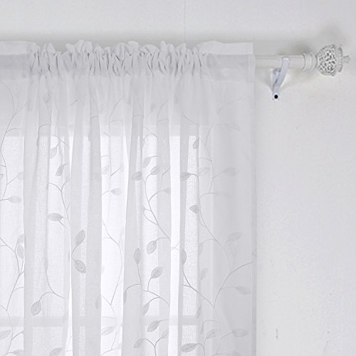 Deconovo Floral Sheer Curtains Embroidered Leaves Pattern Semi Faux Linen Rod Pocket Curtains for Living Room 52x84 Inch White ()