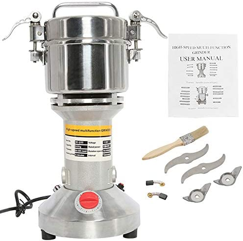 HYDDNice 500g Grain Mill Grinder 2500W 50-300 Mesh 36000RPM High Speed Electric Stainless Steel Grinder Spice Herb Cereals Corn Flour Powder Machine Commercial Grade
