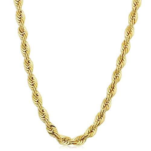 Kooljewelry 14k Yellow Gold Filled Men's 4.2mm Rope Chain Necklace (24 inch)