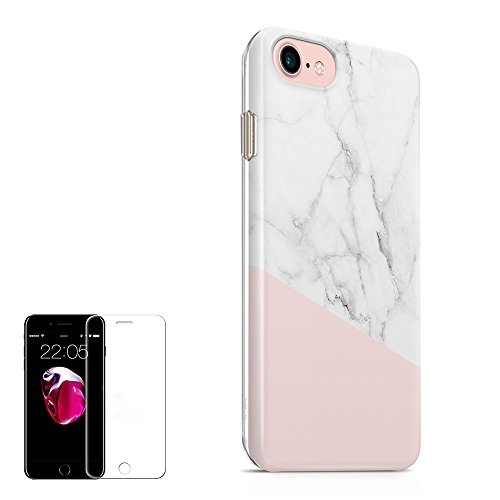 Obbii iPhone 8/7/6/6S Case for Girls Women Baby Pink White Marble Shockproof Slim TPU Flexible Soft Silicone Protective Durable Cover Case with Clear Screen Protector Compatible with iPhone 8/7/6/6S