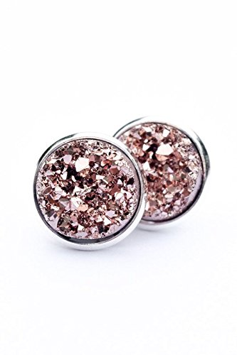 Rose gold Druzy Studs, 12mm rose gold druzy silver, rose gold earrings, druzy earrings, rose gold druzy, druzy jewelry