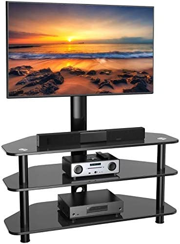 Swivel Floor TV Stand/Base for 32-65 Inch TVs-Universal Corner TV Floor Stand with Storage Perfect for Media-Height Adjustable Entertainment Stand with Tempered Glass&Cable Management, VESA 600x400mm