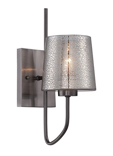 Varaluz 253K01BC Meridian 1-Light Wall Sconce - Black Chrome Finish with Mercury Recycled Glass ()