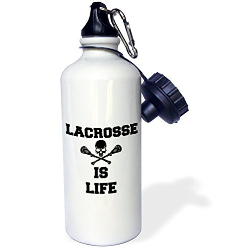 Sports Water Bottle Gift, Lacrosse Is Life Picture Of Black Skull And Lacrosse Sticks White Stainless Steel Water Bottle for Women Men 21oz