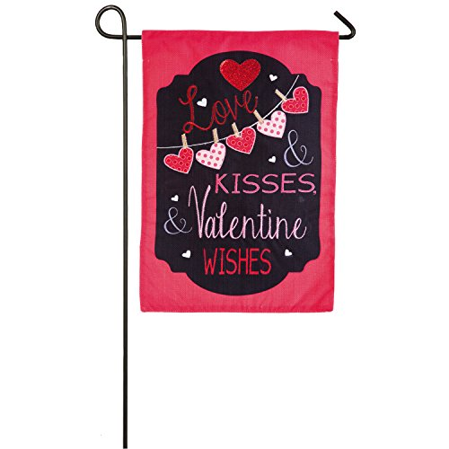 Evergreen Love and Kisses Outdoor Safe Double-Sided Burlap Garden Flag, 12.5 x 18 inches