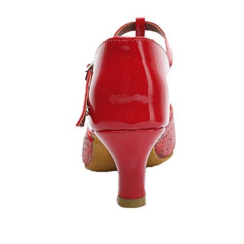 Hipposeus modelo 5cm Es216 Lentejuelas Estándar Salón zapatos Baile Latino zapatos Mujer De Rojo Zapatos Para raqwgxPrO