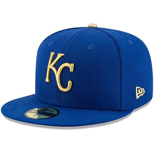 New Era Mens 2017 MLB Game Authentic On Field 59Fifty Cap Kansas City Royals, Royal/Gold, 7 1/2