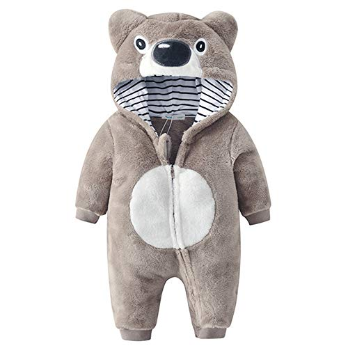 Kirmoo Baby Boys Girls Koala Bear Zipper Hooded Romper Jumpsuit Outfits Halloween Costume (100 (for 18~24 Months,Height -