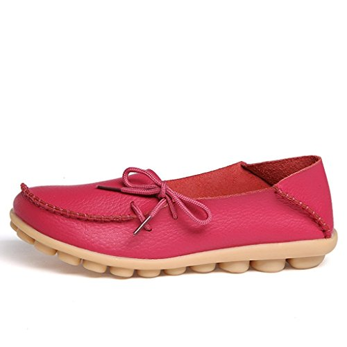 Eagsouni Womens Leather Lace-Up Casual Loafer Boat Shoes Driving Shoes Rose Red 99fUjfEUaR