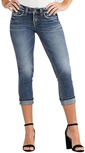 Silver Jeans Women's Suki Perfectly Curvy-Fit Mid-Rise Capri Medium Wash