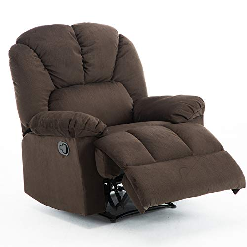 Fabric Recliner Chair, Bonzy Home Self-adjusting the Backrest and Footrest, Living Room Chair with Short Plush Fabric Overstuffed Design Recliner Chair Comfortablefor Living Room Bedroom Theater Room (Recliner Chairs Overstuffed)