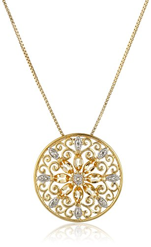18k Yellow Gold Plated Sterling Silver Genuine Citrine and Diamond Accent Filigree Mandala Pendant Necklace, 18""