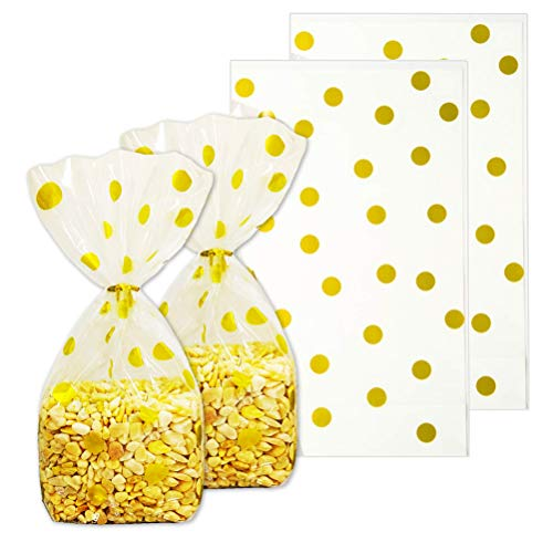 ADIDO EVA Polka Dot Cellophane Treat Bags 100 Packs Gold Polka Dot Cookie Bags 10 x 6 x 2.5 inch Plastic Party Treat Bags for Cookie Candy Snack Wrapping Party Favor Bags -