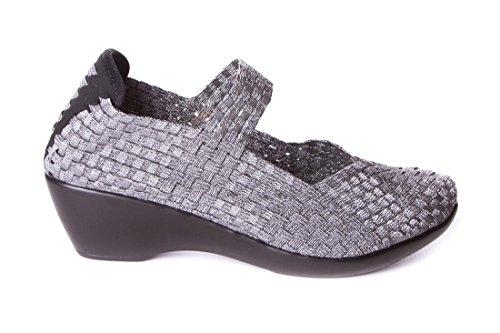 à Ville pour Argent Doctor Chaussures Cutillas de Femme Lacets Métallique wxqvSBIS