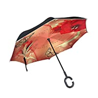 ALAZA Heart And Butterfly Reverse Inverted Umbrella,Upside Down Windproof Umbrellas Unisex