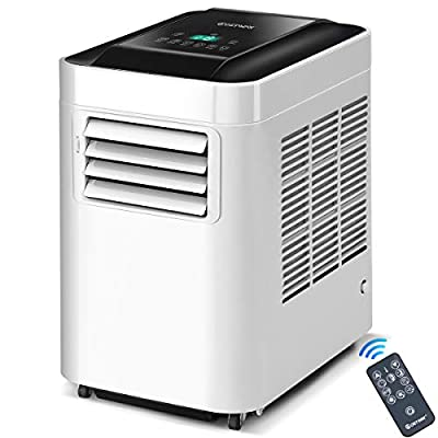 COSTWAY 10,000 BTU Portable Air Conditioner Unit with Dehumidifier & Fan for Rooms up to 200 Sq. Ft. with Remote Control, LCD Display, and Casters