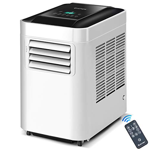 - COSTWAY 10,000 BTU Portable air Conditioner, Bladeless Portable Air Cooler for Indoor Home Office Dorms with Cool Fan Dehumidify & Sleep Modes with Remote Control (White and Black)