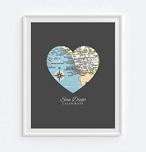 San Diego California Vintage Heart Map Art