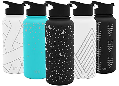 Simple Modern 18oz Summit Sports Water Bottle - Travel Mug Stainless Steel Tumbler Flask +2 Lids - Wide Mouth Double Wall Vacuum Insulated Leakproof Engraved: Lunar ()