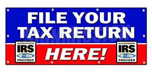 36 X96  File Your Tax Return Here Sticker Sign Taxes Irs Refund Check Income   Sticker Graphic   Auto  Wall  Laptop  Cell Sticker