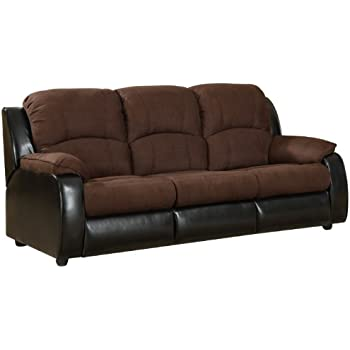 Amazoncom Furniture of America Adam Microfiber Sleeper Sofa Brown