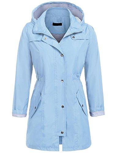 UNibelle Raincoat Women Lightweight Waterproof Active Outdoor Hooded Rain Jacket Windbreaker (Lake Blue, M) ()