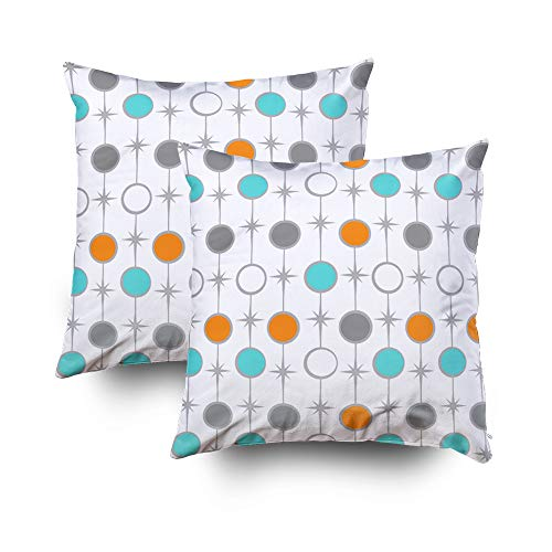 EMMTEEY Home Decor Throw Pillowcase for Sofa Cushion Cover,Retro dots and starbursts Round Decorative Square Accent Zippered and Double Sided Printing Pillow Case Covers 16X16Inch,Set of 2