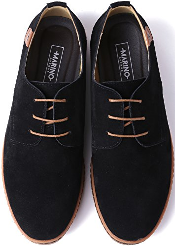 Marino Suede Oxford Dress Shoes for Men – Business Casual Shoes – Classic Tuxedo Men's Shoes – Black- 12 D(M) US