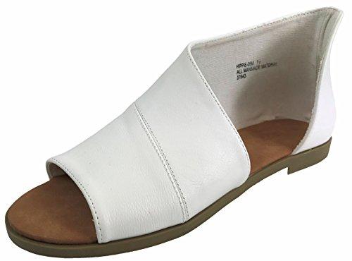 Bamboo Fashion Women's Faux Leather Asymmetrical Sandal Open Toe Half D'Orsay Flats Heel, White, ()