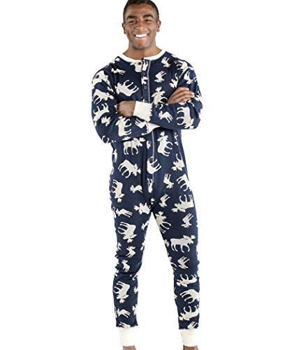 Classic Moose Blue Adult Flapjack Onsie Pajamas by LazyOne | Adult Kid Infant Dog Family Matching Pajamas (XX-Large)]()