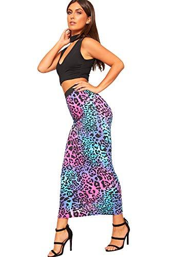 Animale 36 Femmes Multi 48 Taille tendue lastique Nouveau Jupe Maxi Longue Dames Imprimer Rose lev WearAll fZ7nH5xZ