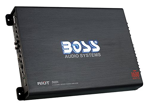 BOSS Audio R4004 - Riot 1600 Watt, 4 Channel, 2/4 Ohm Stable Class A/B, Full Range, Bridgeable, MOSFET Car Amplifier with Remote Subwoofer Control (1600 Watt Mono Amplifier)