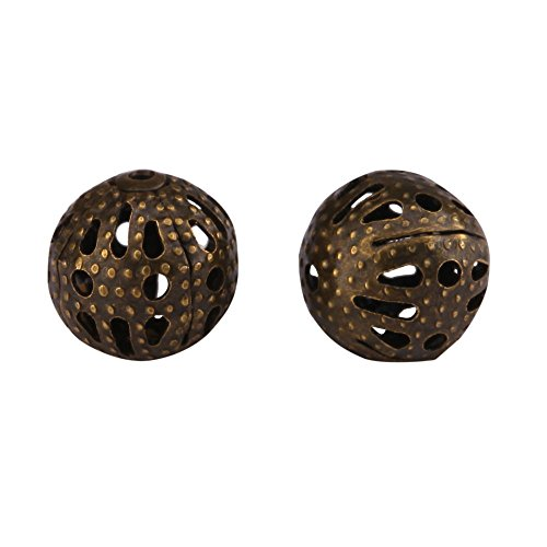 gree Loose Round Beads 8mm Antique Bronze Metal Spacers for Jewelry Craft Making CF95-8 ()