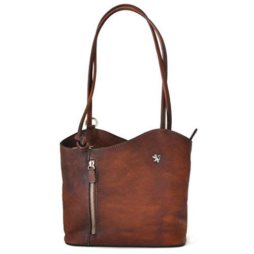 Pratesi Womens Italian Leather Consuma Backpack Convertible Small Shoulder Handbag in Brown by Pratesi