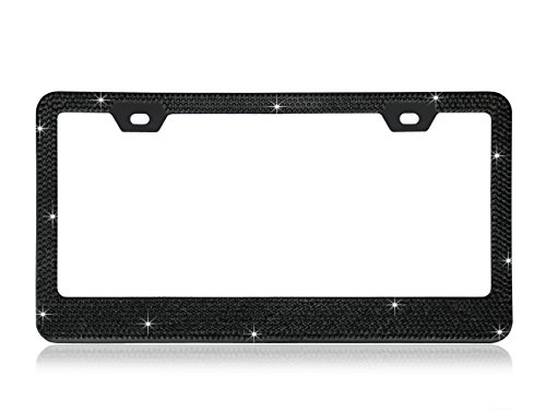 Shining 13 Rows (Max-1377 crystals) BLACK Color Diamond Encrusted Over The Chrome Coating Metal License Plate Frame with Free Caps