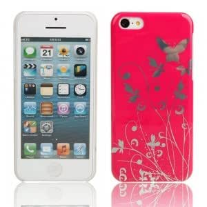 Flower Pattern Protective Hard Case for iPhone 5C Red