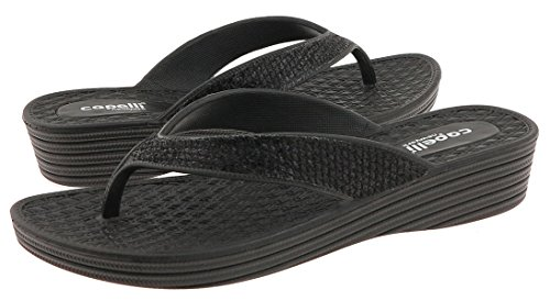 Capelli New York Mesh Faux Leather Thong Ladies Flip Flop Negro