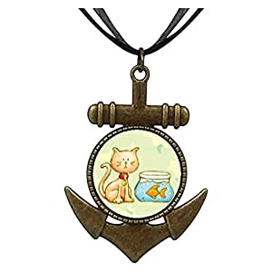 Chicforest Bronze Retro Style Cat With Goldfish Anchor Pendant