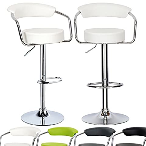 Woltu ABSX1009whi-c Luxury Faux Leather Bar Stools Kitchen Stools Breakfast Barstools with Backs and Arms Gas Strut Adjustable 33-41.7x13.8x13.8in White Bar Stools set of (Bench Cushion Indoor 40 Inch)