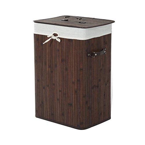 homcom 850-017BN Wäschekorb Wäschekörbe Wäschetruhe Wäschebox Wäschesammler Eckig, Bambus, braun, 40 x 30 x 60 cm