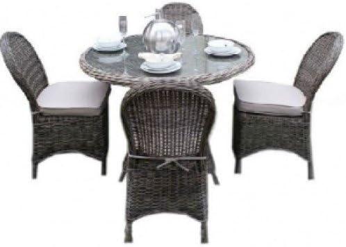Memphis ratán Muebles de jardín Mesa de Comedor Redonda con 4 ...